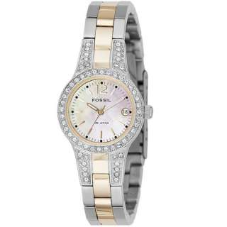 NEW* Fossil Womens Glitz Silver Two Tone Analog Crystal Quartz Watch