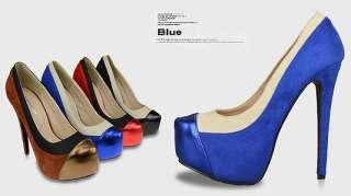 New Fashion Splices Womens Shoes Platforms Stilettos Super High Heel