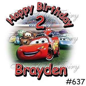 Racing car McQueen Birthday Boy Shirt name age personalized 3rd 4th