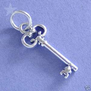 DECORATIVE ANTIQUE ST KEY Sterling Silver Charm Pendant