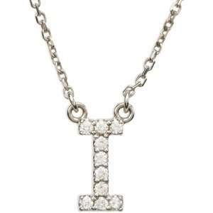 14k White Gold Diamond I Alphabet Initial Letter Necklace