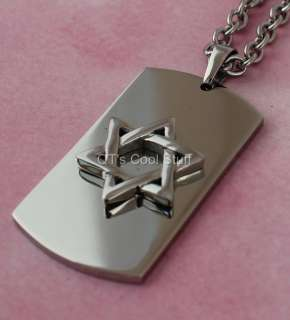 JEWISH STAR OF DAVID 316L STAINLESS STEEL PENDANT CHAIN NECKLACE MENS
