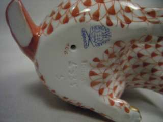 Herend Red Fishnet and Gold Porcelain Rabbit