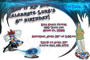Beyblade Custom Birthday Party Invitations w/envelopes
