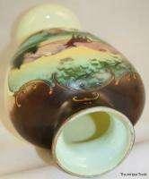 Antique Bohemian mid 19c hand painted opaque Jadite Uranium glass