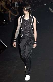 RARE SS04 Strip Dior Homme Hedi Slimane Black Jet Bead / Beaded