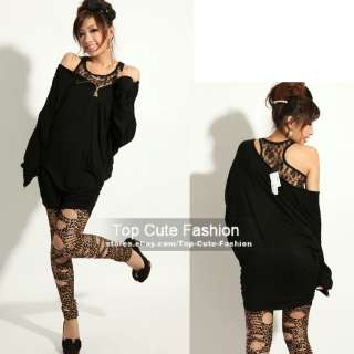 Sexy Skull Zip Bat Wing Sleeve Dress with Lace Tank
