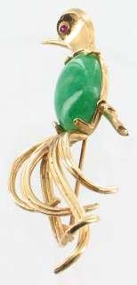 VINTAGE DECO JADE 14K GOLD BIRD OF PARADISE PIN RUBY EYE