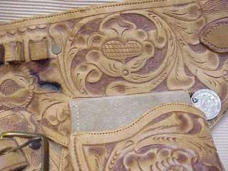 WESTERN HOLSTER LEATHER BULLET BELT TOOLED MEXICAN COIN CLAMP REP
