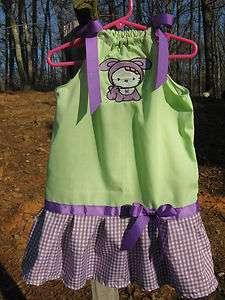 Personalized Purple Bunny Hello Kitty Purple Ribbon Gingham Green