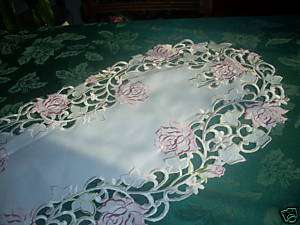 15 by 34 Table Runner Doily Pink Roses