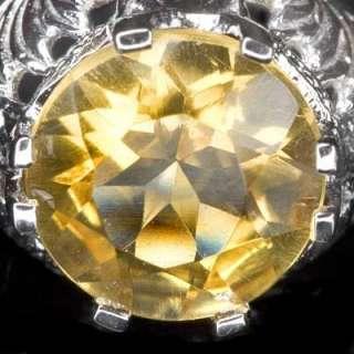SOLITAIRE ESTATE CITRINE 14K GOLD VINTAGE ART DECO RING