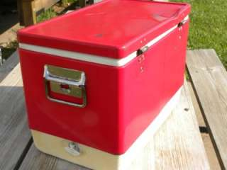 Vintage small Coleman Red Metal Steel Ice Chest Cooler 18 1/2X11 3/4