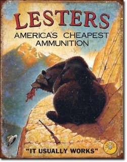 Lesters Ammo Hunting Humor Tin Sign Cabin Man Cave
