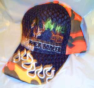 BUCK HUNTER ORANGE CAMO BALL CAP DEER HUNTING HAT NEW