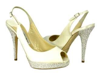 Jimmy Choo Ivory Satin Bridal Shoes   Crystal Heel and Platform   NIB