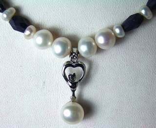 BLUE SAPPHIRE AND WHITE PEARL DESIGNER NECKLACE WITH PEARL PENDANT