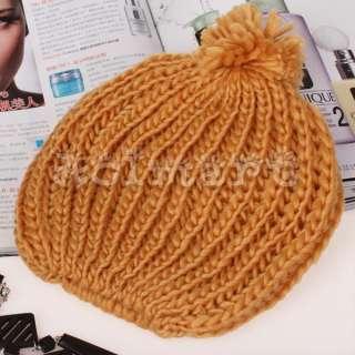 New Knit Beanie Hat Crochet Skull Cap Beret w/ Poms Pink/Green