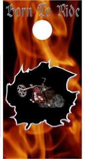 Ghost Rider Motorcycle Cornhole game decal wrap