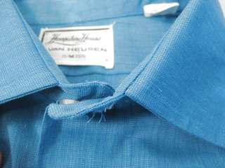 vtg Electric Blue Van Heusen Mens Dress Shirt 60s mod