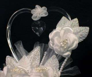 Crystal Glass Hearts Wedding Cake Topper Top W/ light
