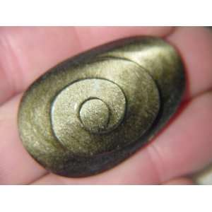 Hand Carved Mexican Gold Sheen Obsidian Freeform Cabochon