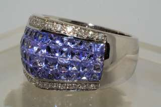 6000 4.24CT INVISIBLE SET PRINCESS CUT TANZANITE & DIAMOND RING SIZE 7