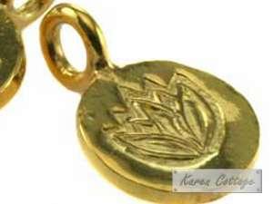 Karen Hill Tribe Silver  Gold vermeil Lotus Printed Flat Round Charm