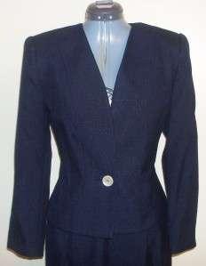 Kasper ASL Dark Navy Blue LS Skirt Suit sz 10P