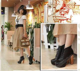 New Lady Womens Platform Round Toe High Heels Shoes Ankle Boots 2