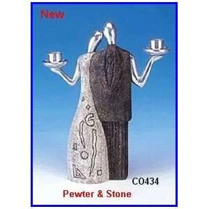 Candlestick Holder Best Friends, Pewter and Stone