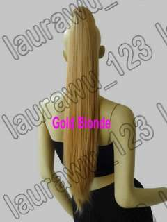 24 Long Gold Blonde Cosplay Wig Straight Ponytail 60cm Free Shipping