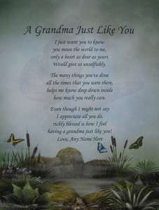 GRANDMA LIKE YOU PERSONALIZED POEM BIRTHDAY, CHRISTMAS OR MOTHERS