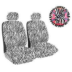 Black/ White Zebra Print 7 piece Car Accessories Set