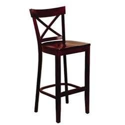 Dark Mahogany Wood Seat X back Barstool