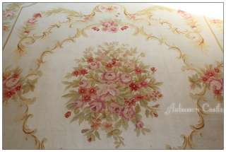 BLUE CREAM French Aubusson Area Rug SHABBY PINK CHIC ROSES Wool Woven