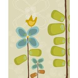 Green Leaf Art Ankan Bird on Flower 1 Canvas Art