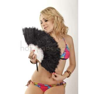 Elegant black Marabou feather hand fan costumes fun