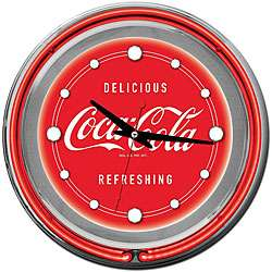 Coca Cola Logo 14 inch Double Ring Neon Clock  Overstock