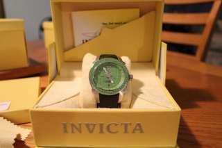 The Box Invicta 3403 Green Carbon Fiber Rally Swiss GMT Watch