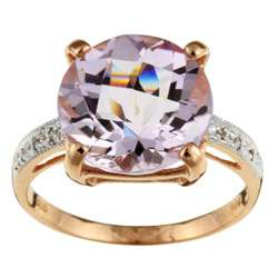Rose Gold Pink Amethyst and 1/10ct TDW Diamond Ring