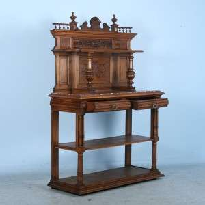 French Carved Antique Marble Top Server Buffet Sideboard c.1850 1880