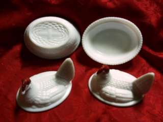 Vintage Milk White Glass Nesting Hens   Pair