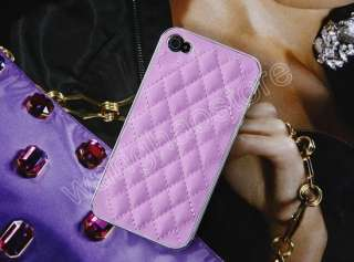 Luxury Pink Leather Chrome Skin Hard Case Cover For iPhone 4S 4 G CDMA