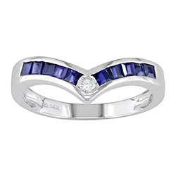 14k White Gold Diamond and Blue Sapphire Chevron Ring