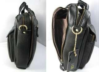 MENs Black Leather Messenger Laptop Bag Briefcase Tote