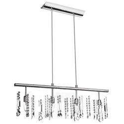 Light Linear Chrome Crystal Hanging Bar Pendant Light Fixture