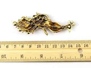Crystal Rhinestone Brass Gold Tone Oriental Bird Peacock Pin Brooch