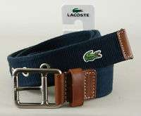 LACOSTE Navy Blue Cotton Logo Belt with Leather Detail for Men [NEW