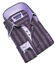 Max Lauren by BRIO UOMO Mens Purple Print Stripe Dress Shirt